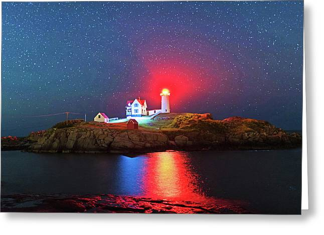 Starry Sky Ove Nubble Light Cape Neddick York Me Greeting Card