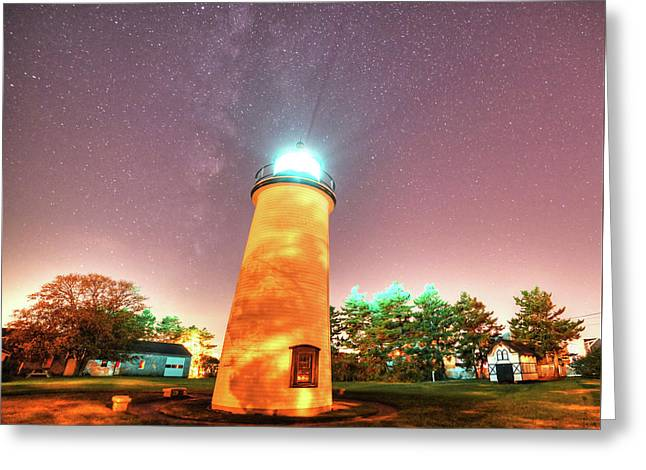 Starry Sky Over The Newburyport Harbor Light Greeting Card