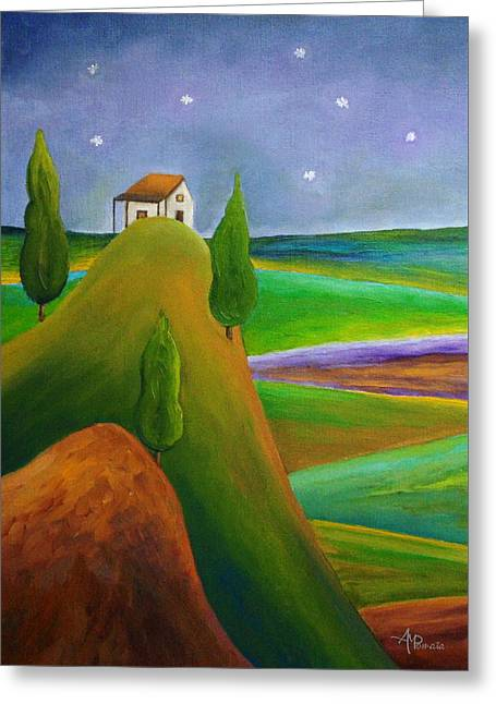 Greeting Card featuring the painting Starry Summer Night by Angeles M Pomata