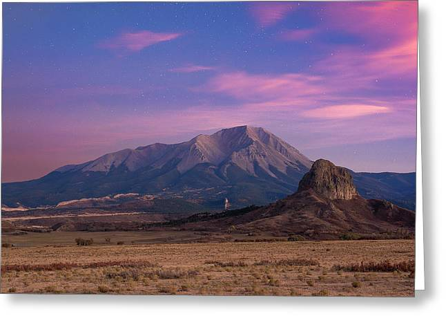 Greeting Card featuring the photograph Starry Sunset Over West Spanish Peak by Aaron Spong