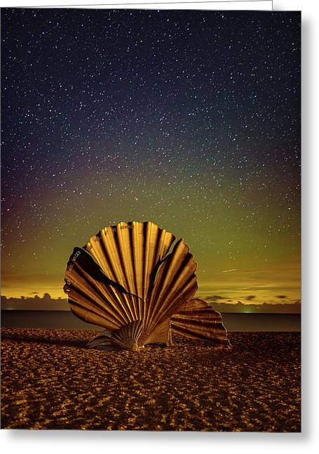 Stars And The Aurora Over The Scallop  Greeting Card by Ben Nichols Photography