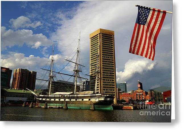 Stars And Stripes And Inner Harbor Baltimore Greeting Card