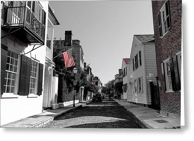 Stars And Stripes- Church St Charleston Sc Greeting Card