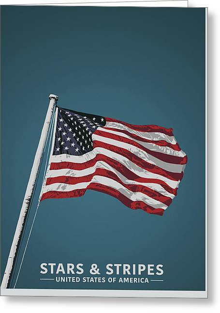 Stars And Stripes Greeting Card by Sketchbook Ink