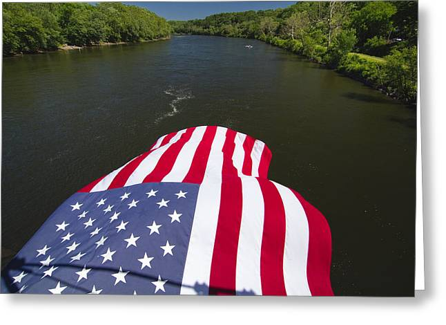 Stars And Stripes Flies Over The Delaware River Greeting Card by George Oze