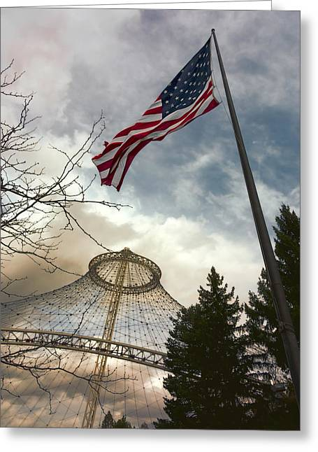 Stars And Stripes Flying Over R F P Pavilion - Spokane Greeting Card by Daniel Hagerman
