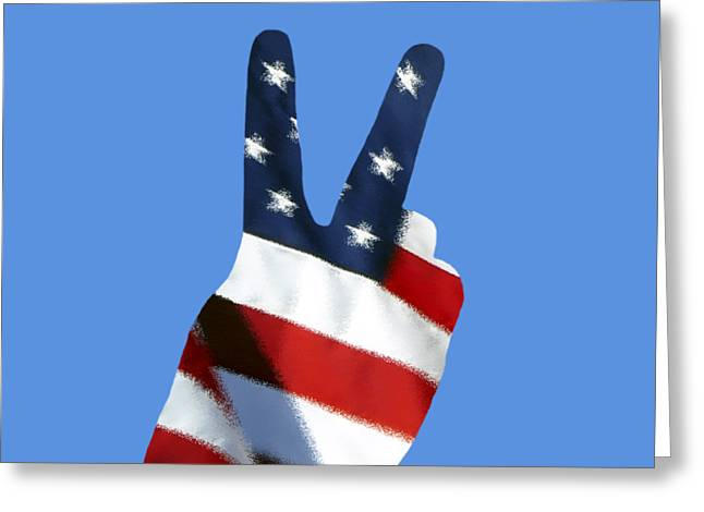 Greeting Card featuring the photograph Stars And Stripes Peace Sign .png by Al Powell Photography USA