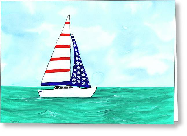 Stars And Strips Sailboat Greeting Card
