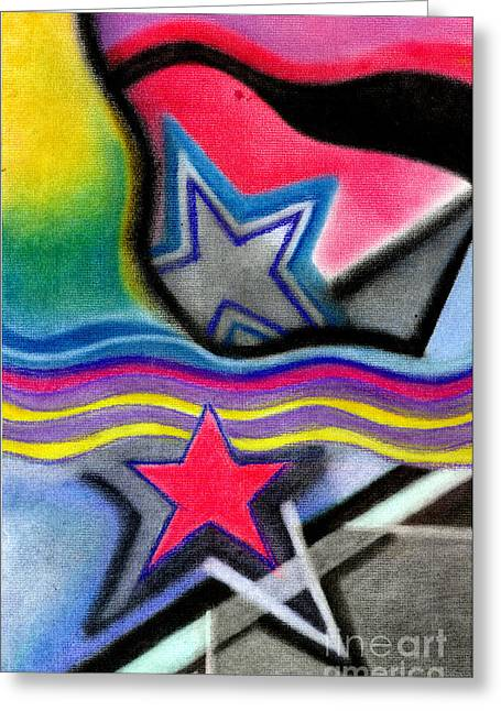 Greeting Card featuring the pastel Stars by Christine Perry