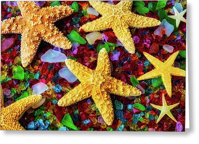 Stars On Sea Glass Greeting Card by Garry Gay