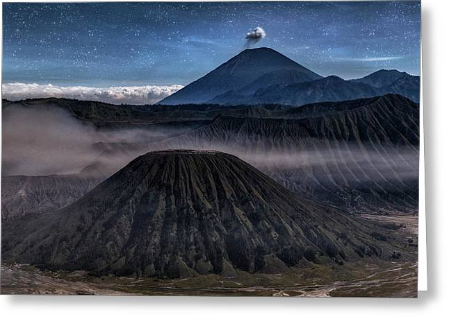 stars over Mount Bromo - Java Greeting Card