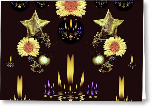 Stars Over The Sacred Sea Of Candles Greeting Card by Pepita Selles