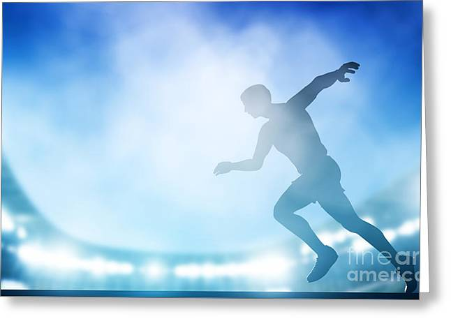 Start Of The Run On The Stadium In Night Lights Greeting Card