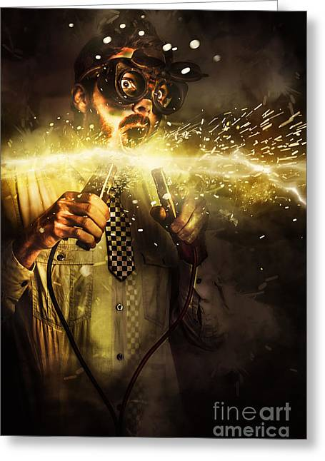 Start Up Business Man With Explosive Idea Greeting Card by Jorgo Photography - Wall Art Gallery