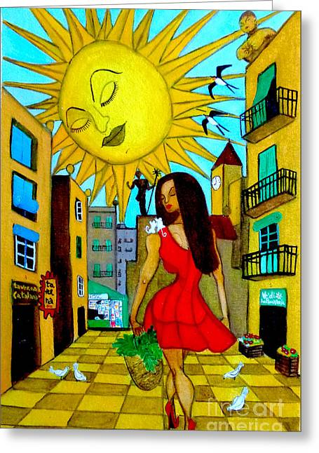 Greeting Card featuring the painting Starting A New Day by Don Pedro De Gracia