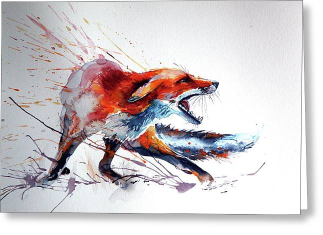 Startled Red Fox Greeting Card