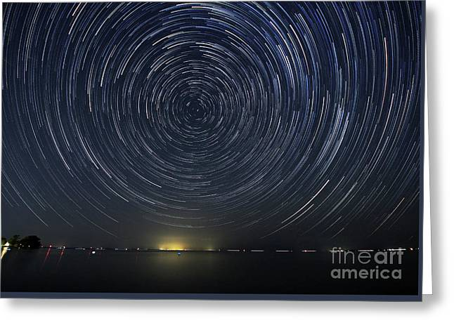 Startrails Around Polaris Greeting Card by Charline Xia