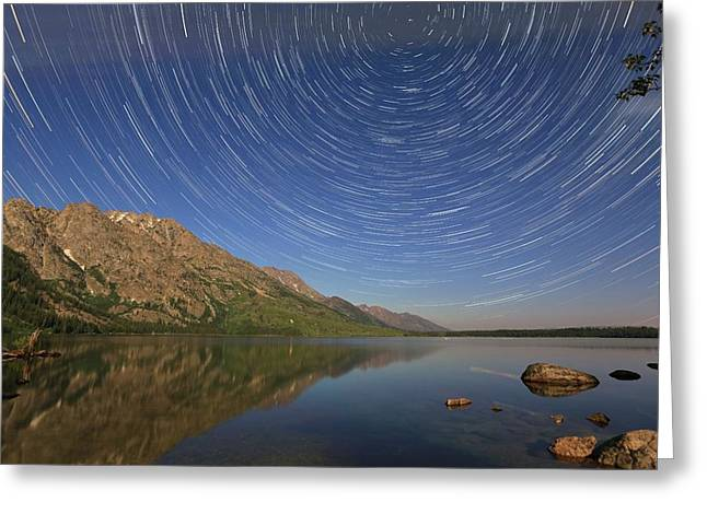 Startrails Over Jenny Lake Greeting Card