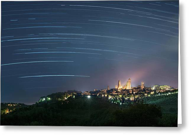 Startrails Over San Gimignano Greeting Card