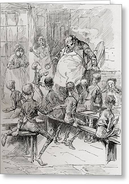 Starvation In The Workhouse. Please Greeting Card by Vintage Design Pics
