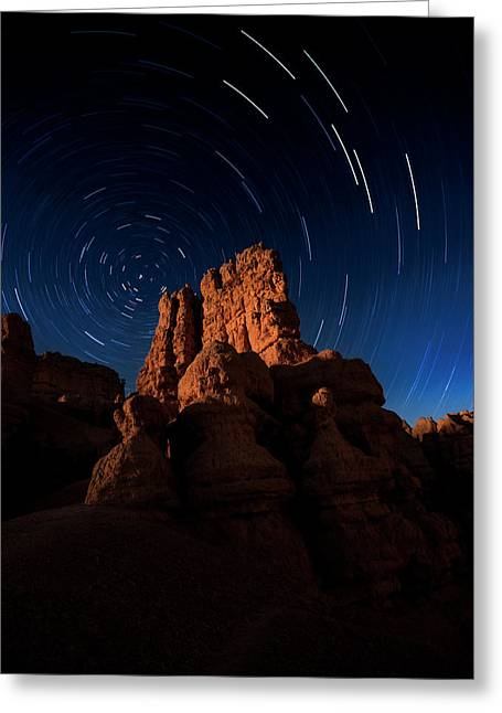 Greeting Card featuring the photograph Stary Trails At Red Canyon by Edgars Erglis