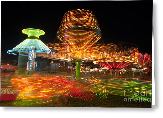 State Fair Rides At Night I Greeting Card