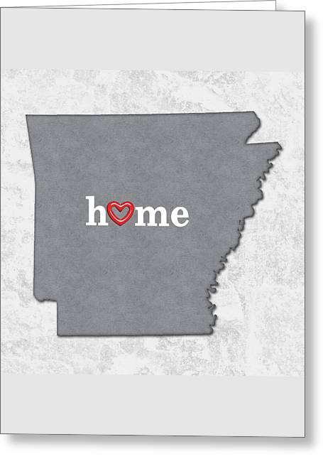 State Map Outline Arkansas With Heart In Home Greeting Card