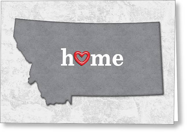State Map Outline Montana With Heart In Home Greeting Card by Elaine Plesser