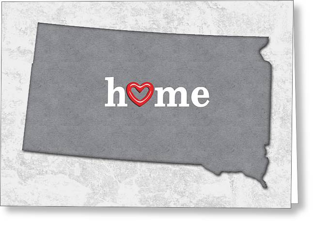 State Map Outline South Dakota With Heart In Home Greeting Card by Elaine Plesser