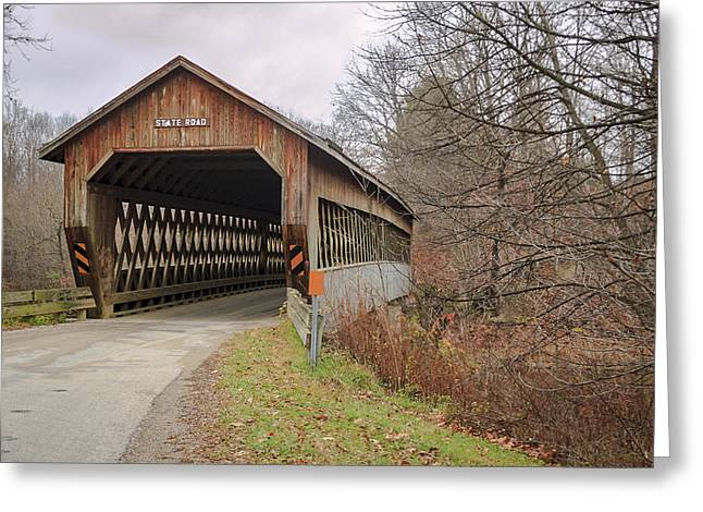 State Road Covered Bridge  Greeting Card by Jack R Perry