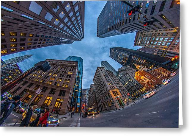 State Street Look Up Boston Ma Greeting Card