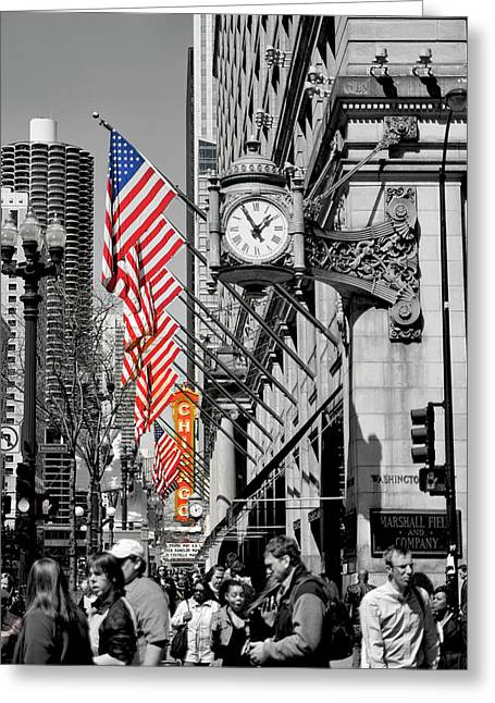 State Street Scene - 1 Greeting Card by Sheryl Thomas