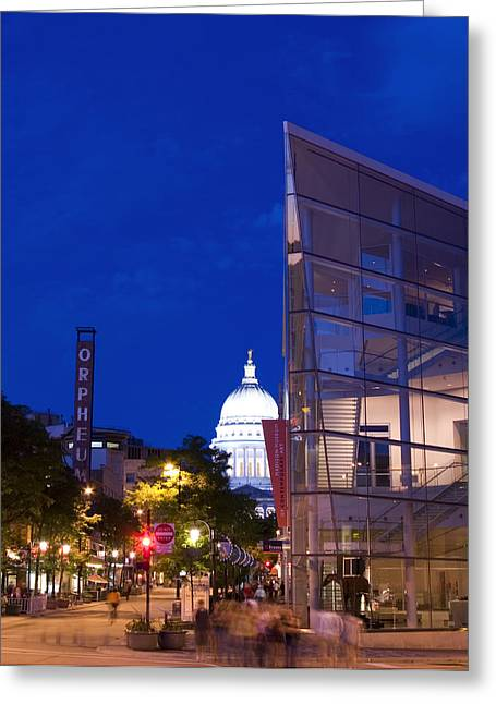 State Street View In Madison Wisconsin With Overture Center And Capitol Greeting Card by Michael Dykstra