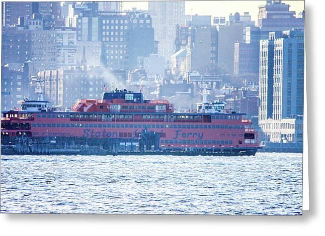Staten Island Ferry Lower Manhattan Greeting Card by William Rogers