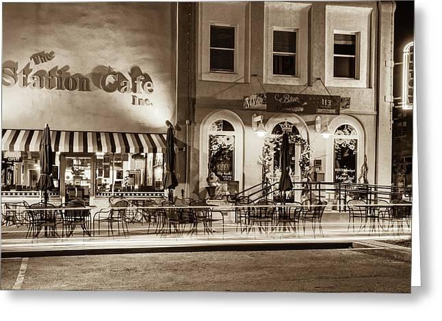 Station Cafe And Blue Moon - Bentonville Arkansas - Sepia Greeting Card