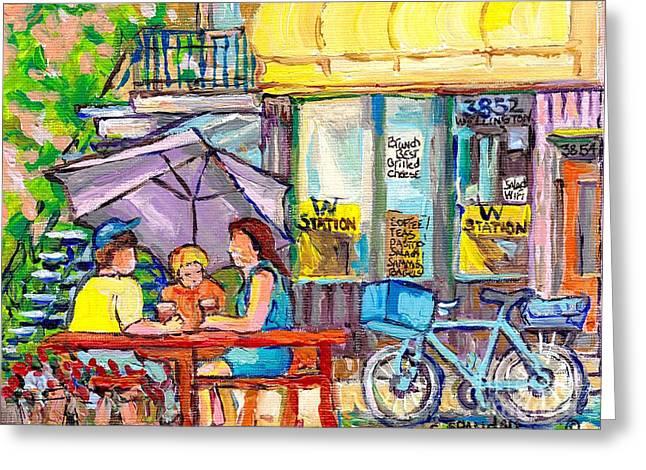 Station W Verdun Coffee Shop Paintings Wellington St Patio Scenes Canadian Art C Spandau Cityscenes  Greeting Card