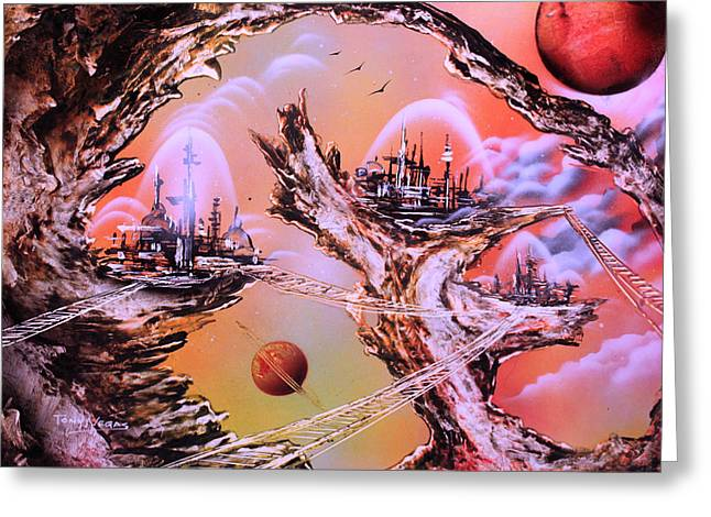 Outer Space Paintings Greeting Cards - Stations Greeting Card by Tony Vegas