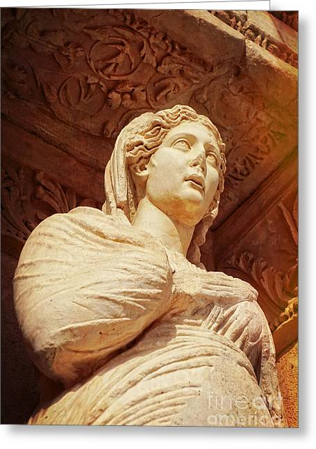 Statue At The Library Of Celsus Greeting Card