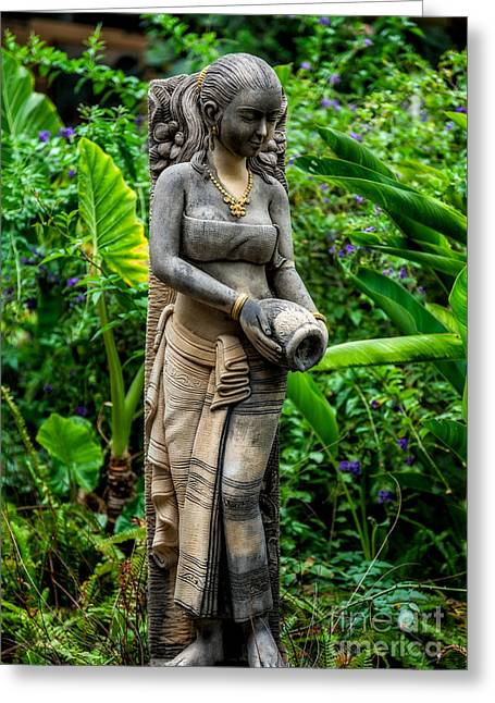 Statue In The Garden Greeting Card by Adrian Evans