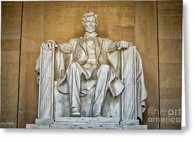 Statue Of Abraham Lincoln - Lincoln Memorial #8 Greeting Card by Julian Starks