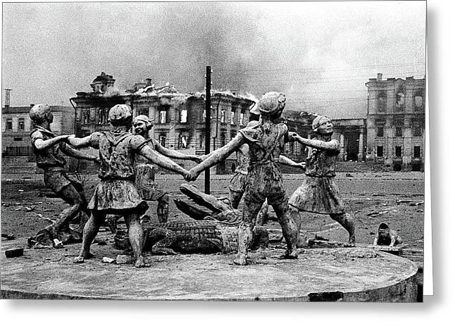Statue Of Children After Nazi Airstrikes Center Of Stalingrad 1942 Greeting Card