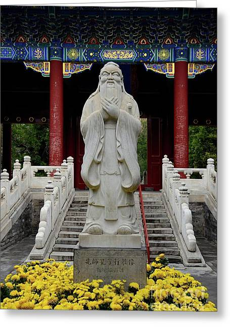 Statue Of Chinese Philosopher Confucius Beijing China Greeting Card by Imran Ahmed