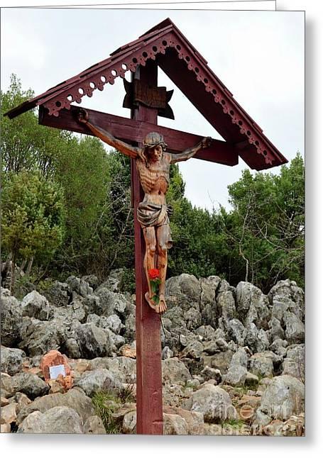 Statue Of Christ On Cross At Medjugorje Pilgrim Site Bosnia Herzegovina Greeting Card by Imran Ahmed