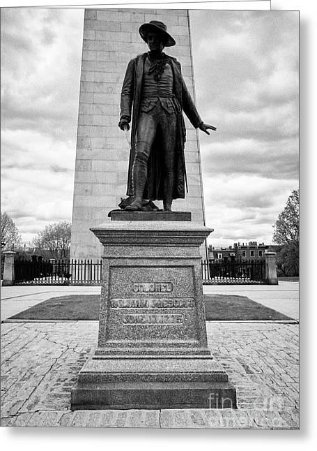 statue of col william prescott bunker hill monument breeds hill charlestown Boston USA Greeting Card