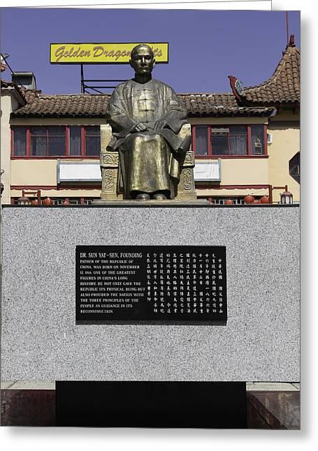 Statue Of Dr. Sun Yat-sen Greeting Card by Teresa Mucha