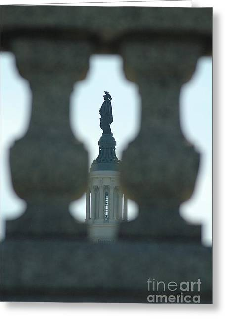 Statue Of Freedom Through Railing Greeting Card