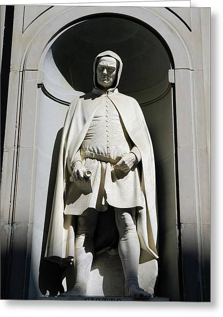 Statue Of Giotto Di Bondone At The Uffizi Gallery In Florence It Greeting Card by Reimar Gaertner
