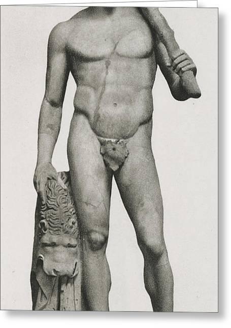 Statue Of Hercules Greeting Card by Roman School