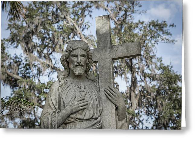 Greeting Card featuring the photograph Statue Of Jesus And Cross by Kim Hojnacki