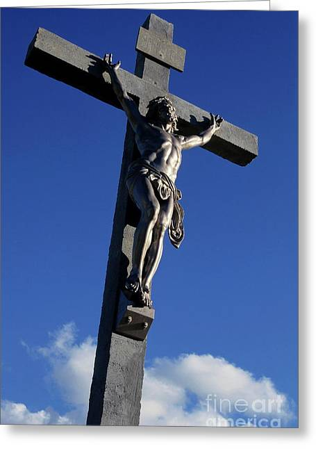 Statue Of Jesus Christ On The Cross Greeting Card